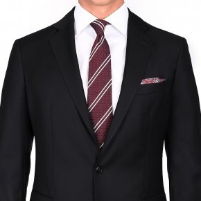 Suit in Solid Black Wool - thumbnail image 1