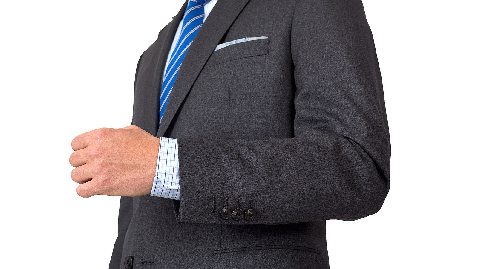 Suit in Solid Grey Wool - slider image 1