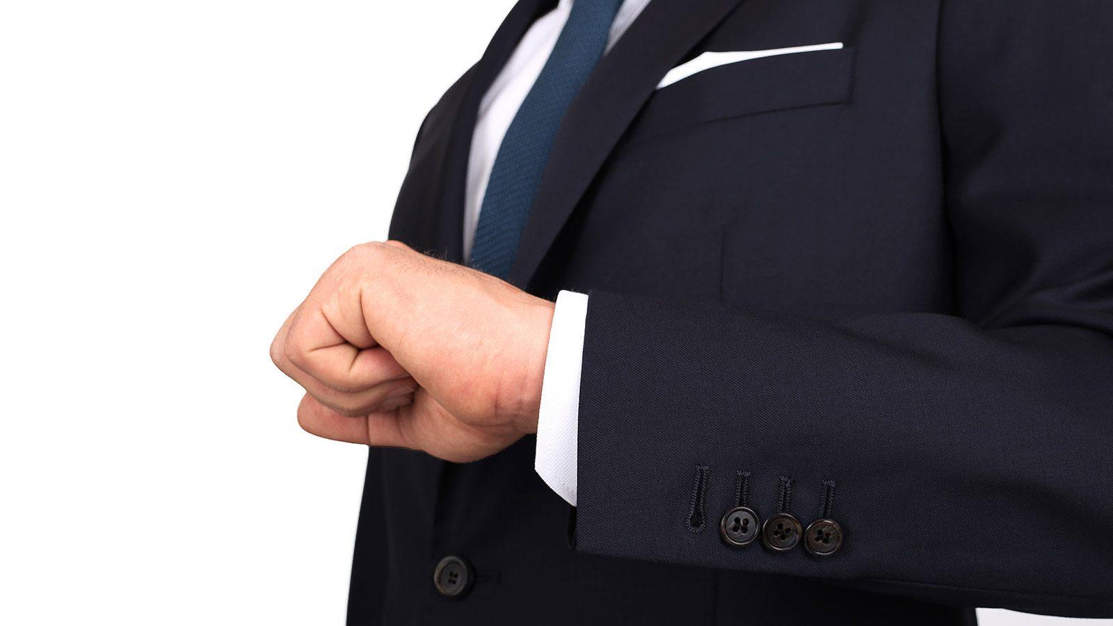 Suit in Solid Dark Navy Blue Wool - slider image 1