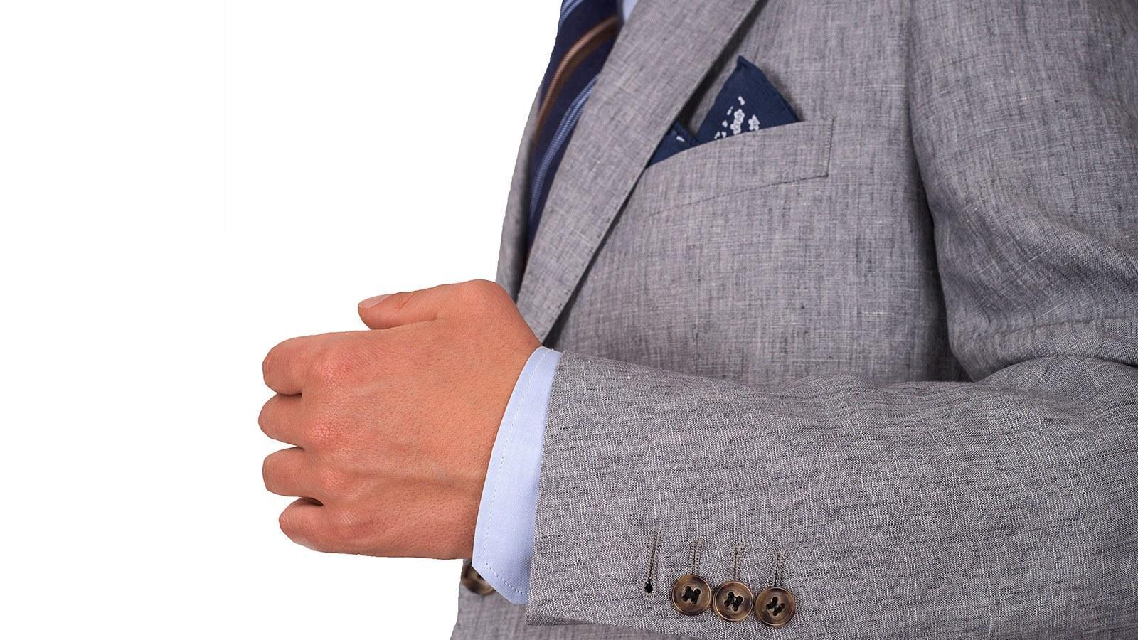 Grey Linen 3 Piece Suit - slider image 1