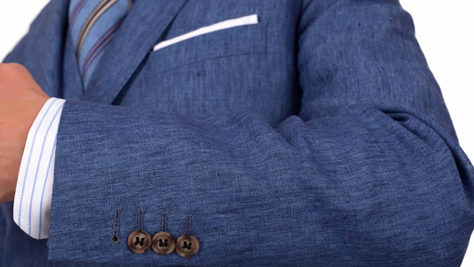 Sky Blue Linen 3 Piece Suit - slider image 1