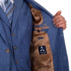 Sky Blue Linen 3 Piece Suit - thumbnail image 3