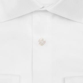 White Two-Ply Cotton Royal Oxford Shirt - thumbnail image 1