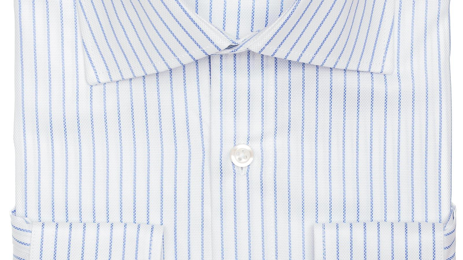 Blue Stripe White Cotton Royal Oxford Shirt - slider image