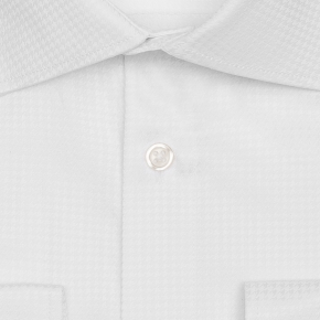 White Houndstooth Cotton Shirt - thumbnail image 1