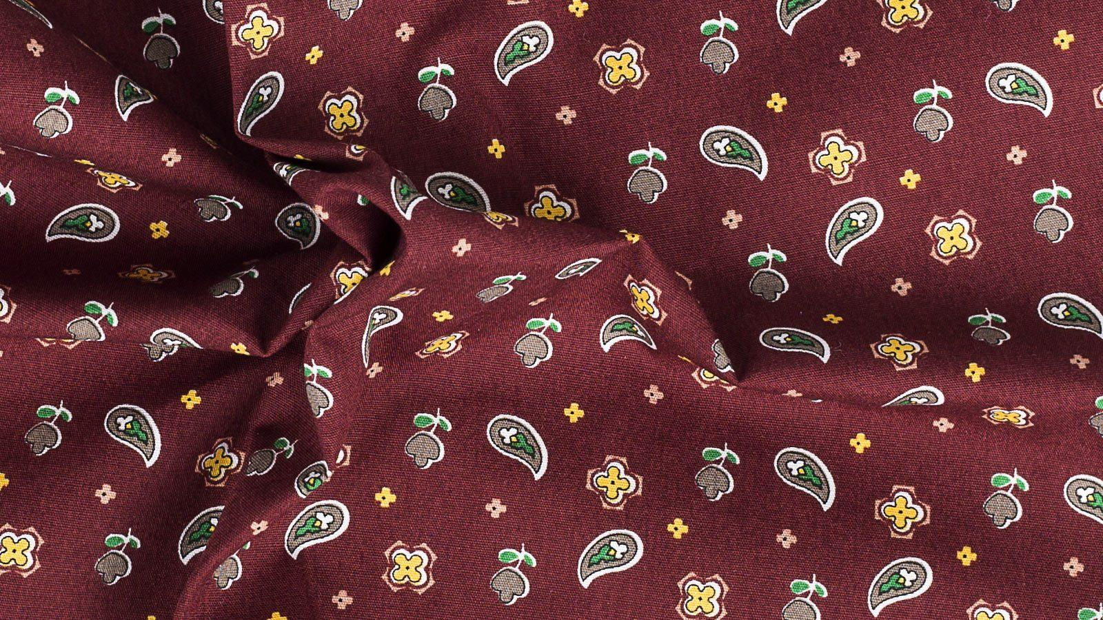 Burgundy Pocket Square with Paisley Pattern - slider image