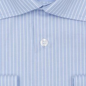 White Striped Blue Two-Fold Cotton Shirt - thumbnail image 2
