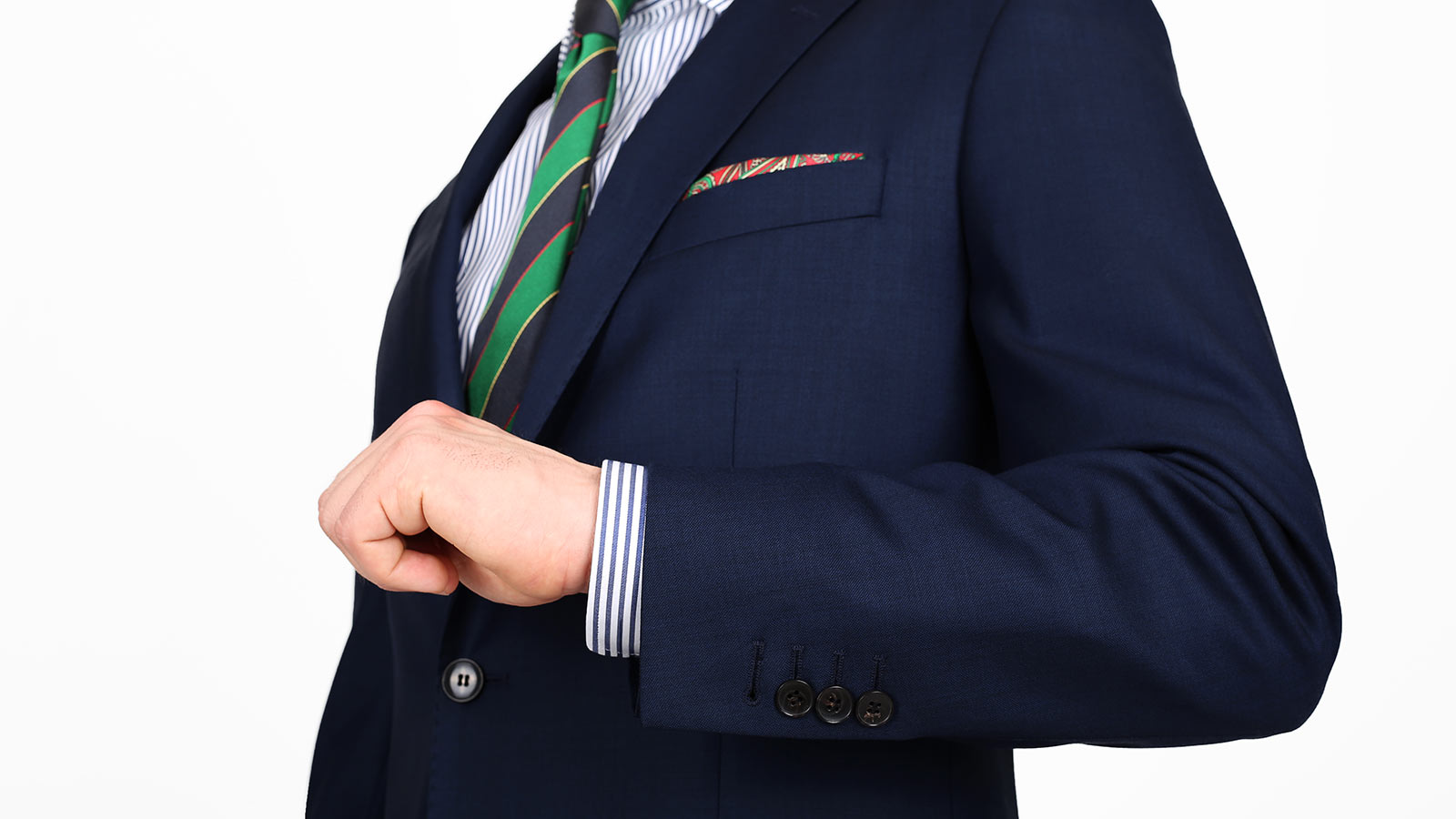 Suit in Navy Pick & Pick Wool - slider image 1