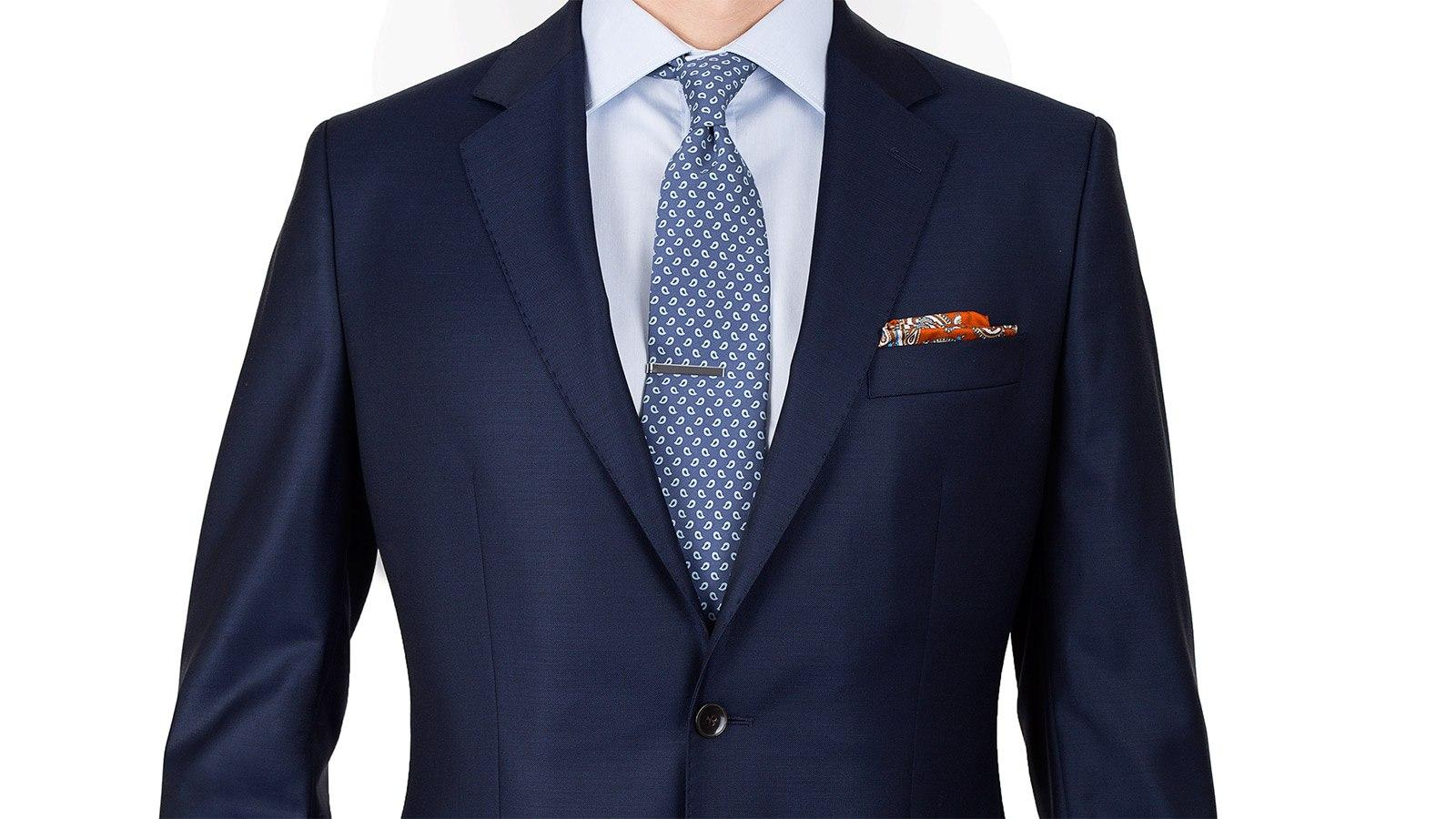 Suit in Solid Deep Blue Wool - slider image 1