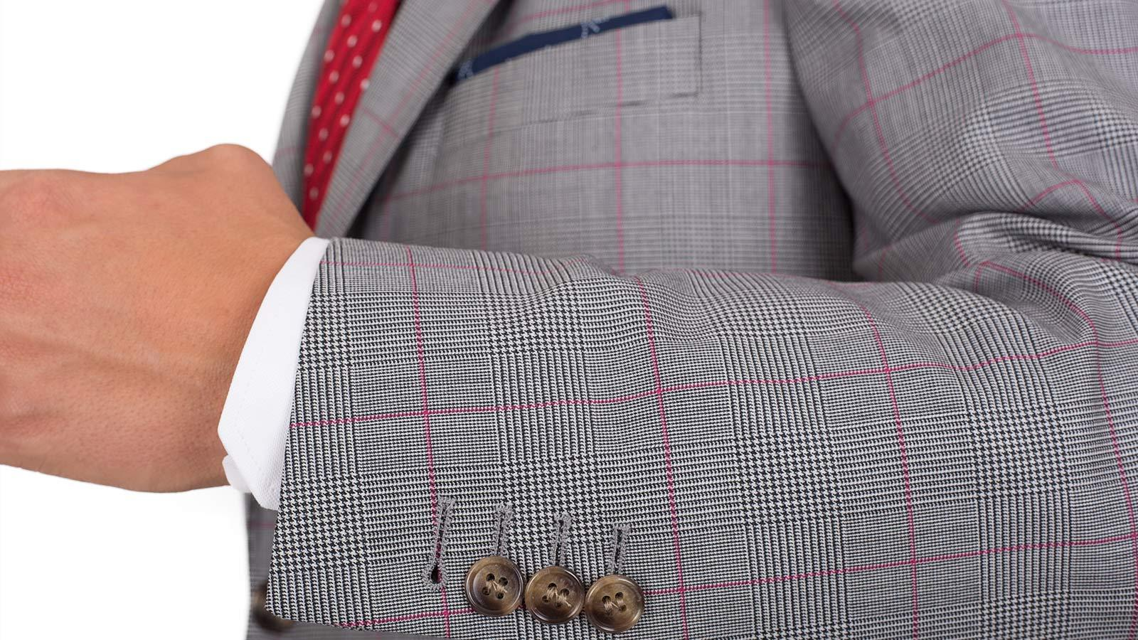 Vendetta Premium Grey & Red Plaid Suit - slider image 1