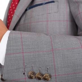 Vendetta Premium Grey & Red Plaid Suit - thumbnail image 1