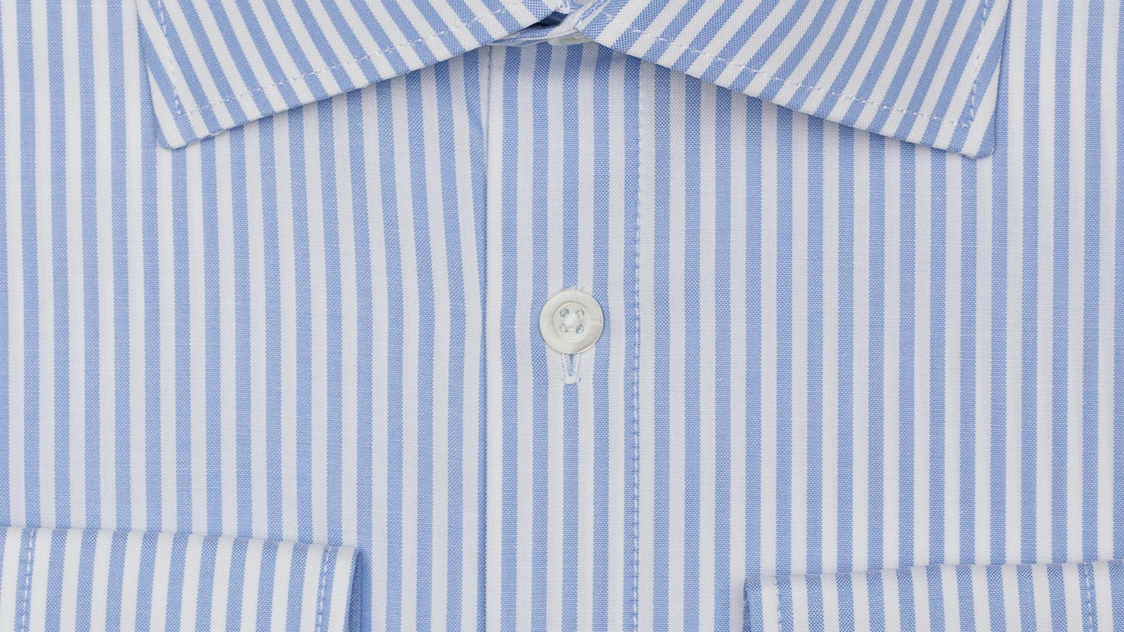 Light Blue Striped Two-Ply Pinpoint Oxford Shirt - slider image