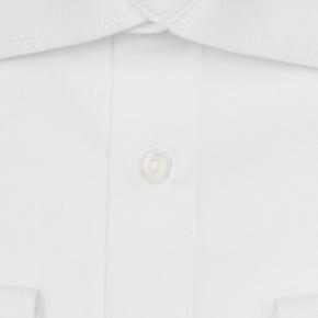 White Two-Ply Cotton Twill Shirt - thumbnail image 1