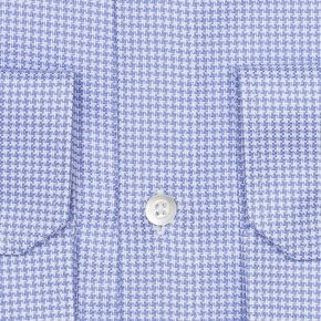 Blue Houndstooth Two-Ply Cotton Broadcloth Shirt - thumbnail image 1