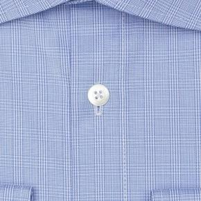 Checked Blue Cotton Shirt - thumbnail image 1