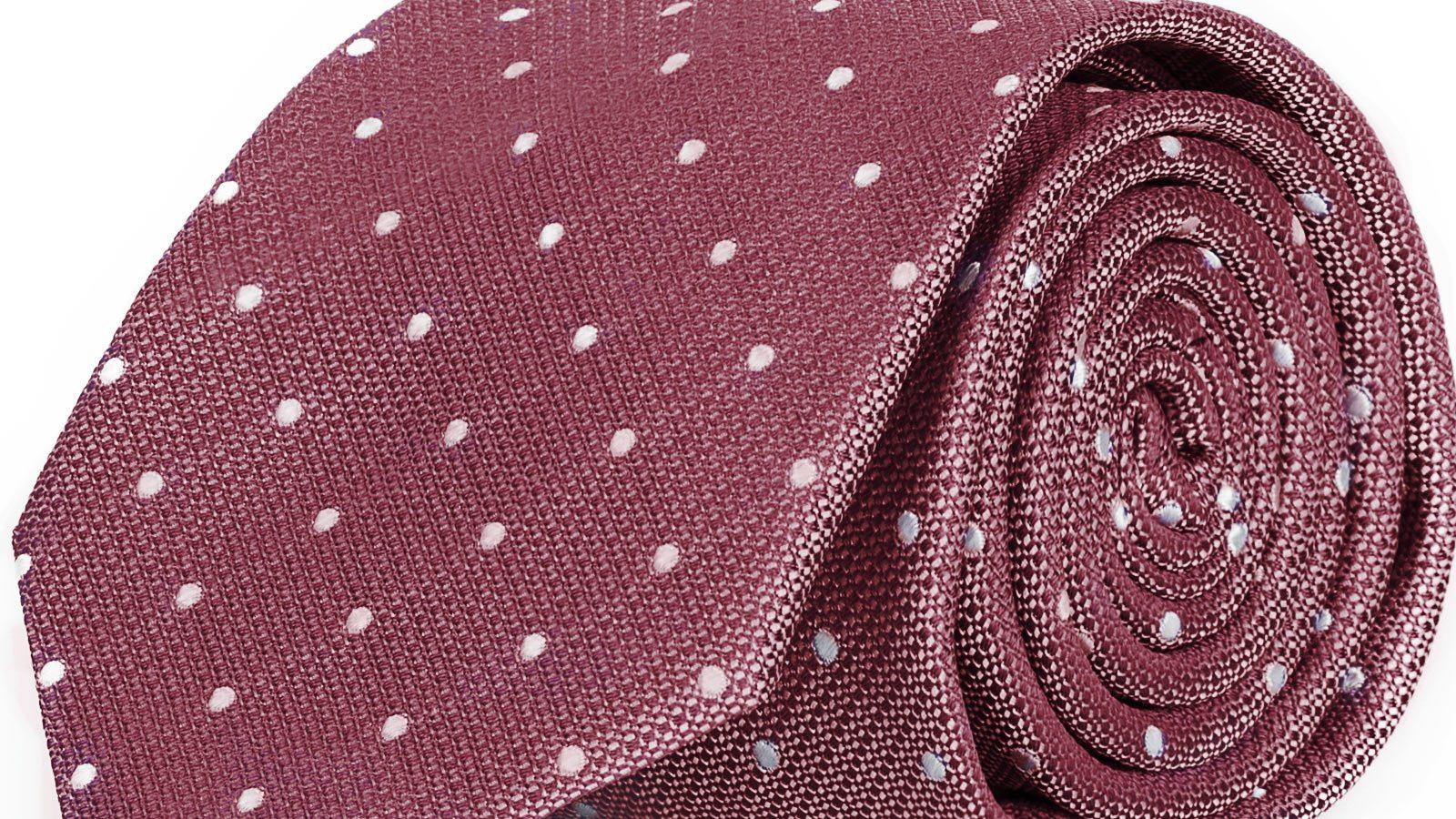 Pastel Red Dotted Italian 100% Silk Tie - slider image
