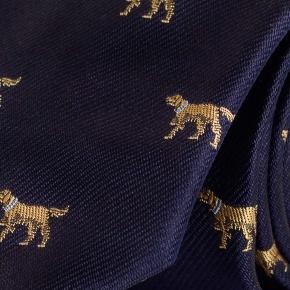 Dog Pattern Navy 100% Silk Tie - thumbnail image 1