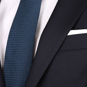 Suit in Solid Dark Navy Blue Wool - thumbnail image 2