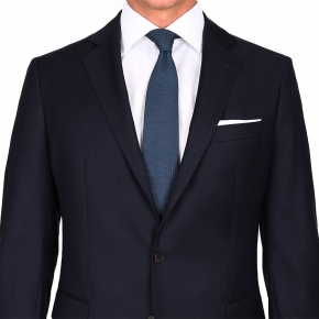 Suit in Solid Dark Navy Blue Wool - thumbnail image 3