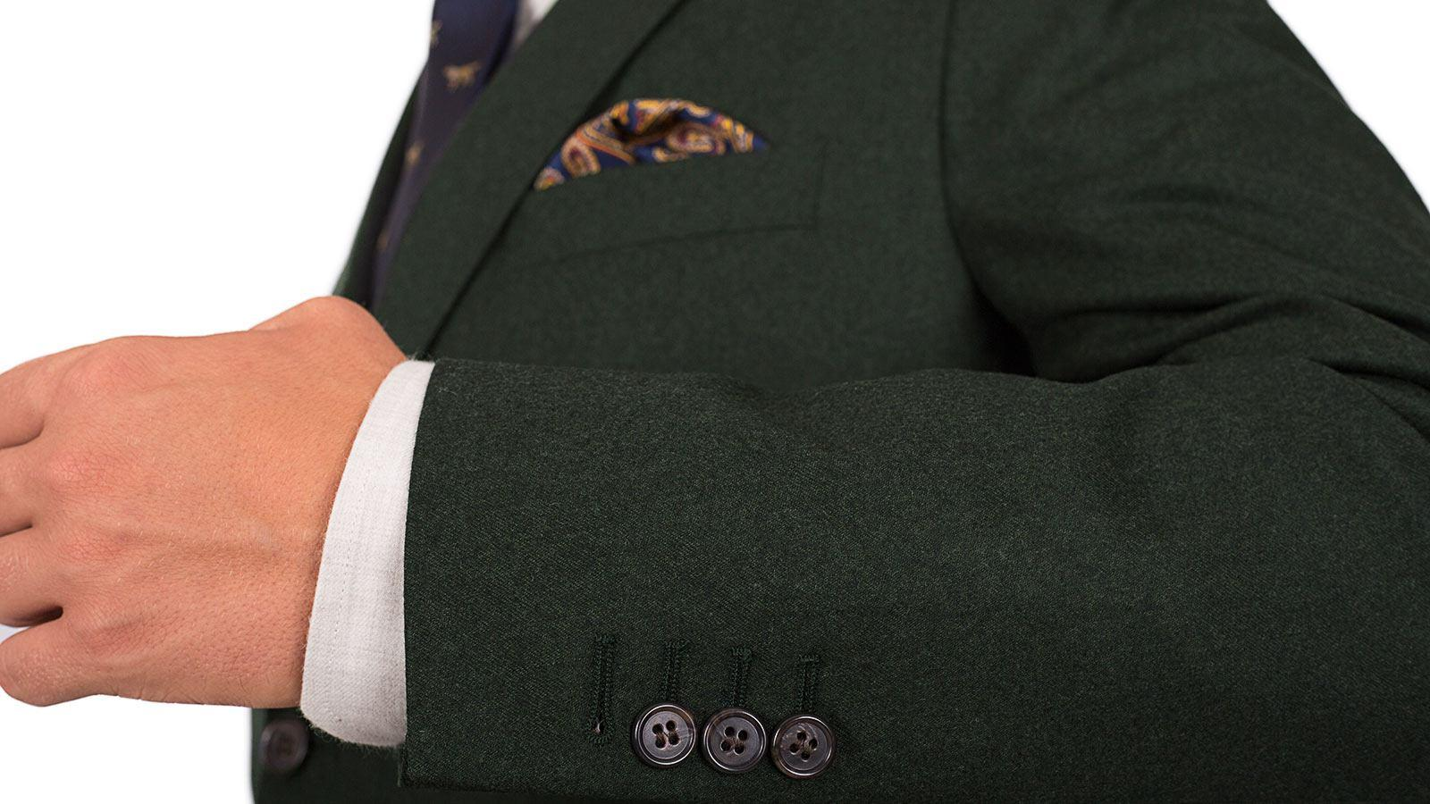 Dark Green Wool Flannel Suit - slider image