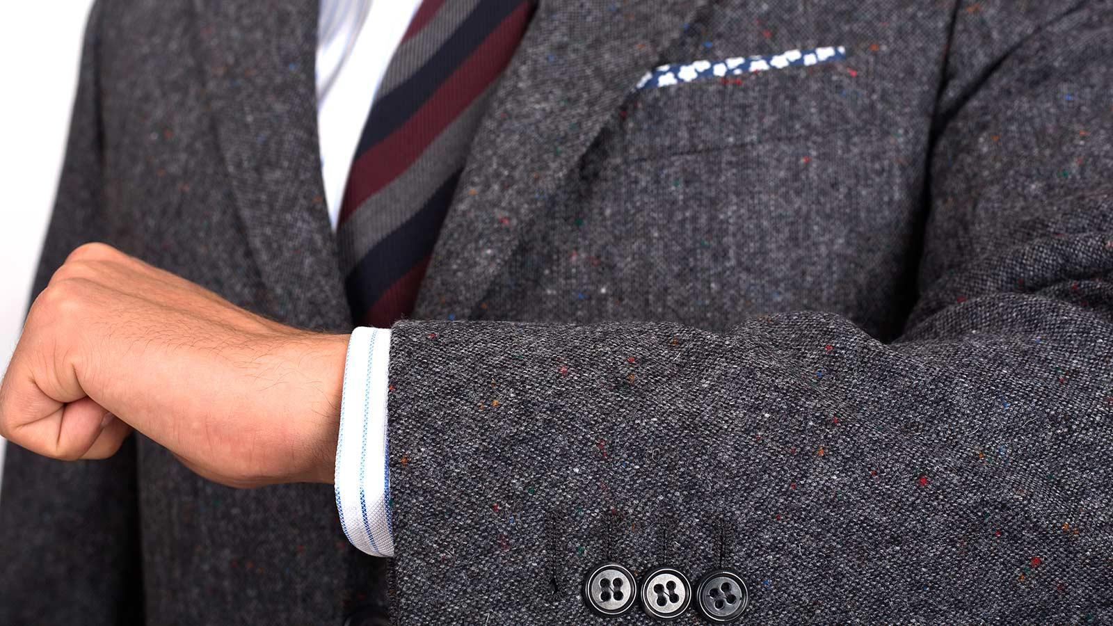 Dark Grey Donegal Tweed Suit - slider image 1