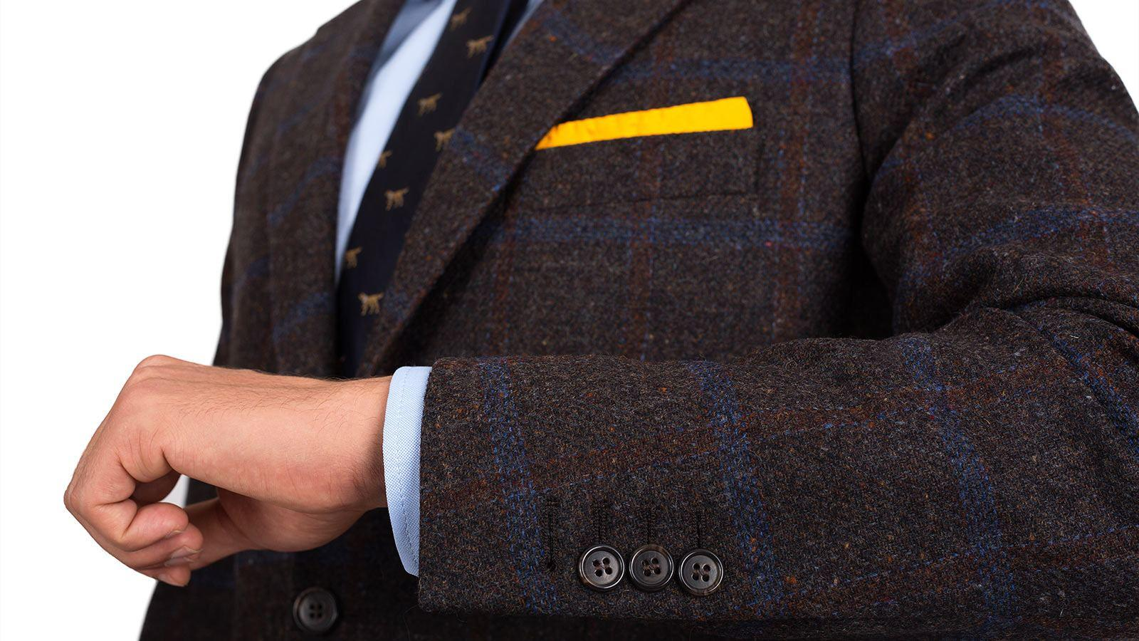 Blue Check Brown Shetland Tweed Blazer - slider image 1