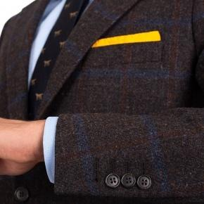 Blue Check Brown Shetland Tweed Blazer - thumbnail image 1