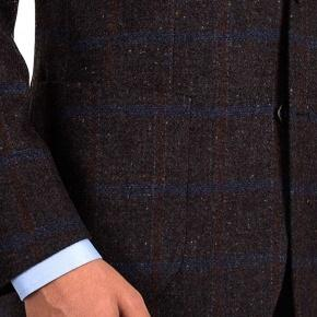 Blue Check Brown Shetland Tweed Blazer - thumbnail image 3