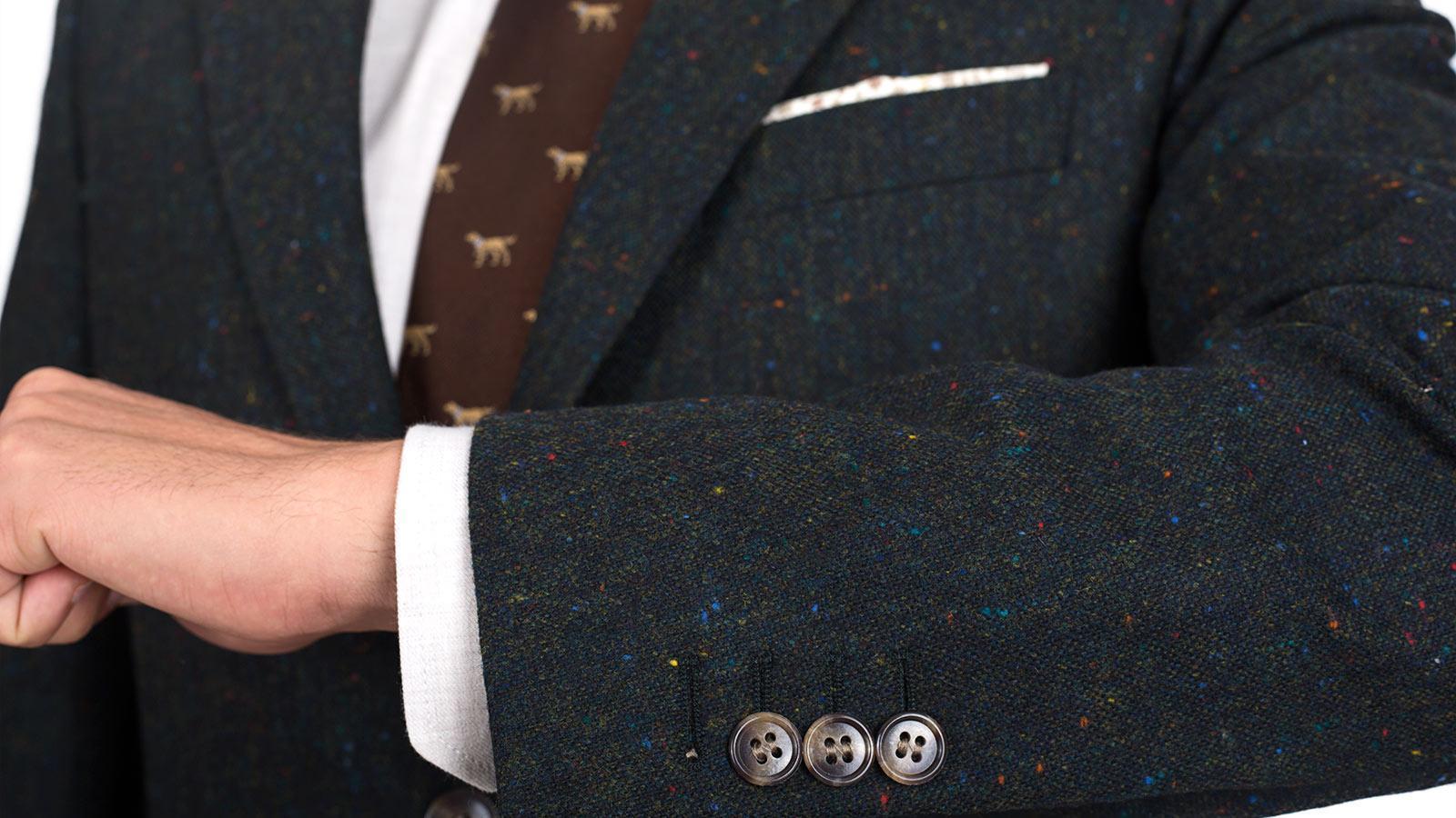 Olive Green Donegal Tweed Blazer - slider image 1