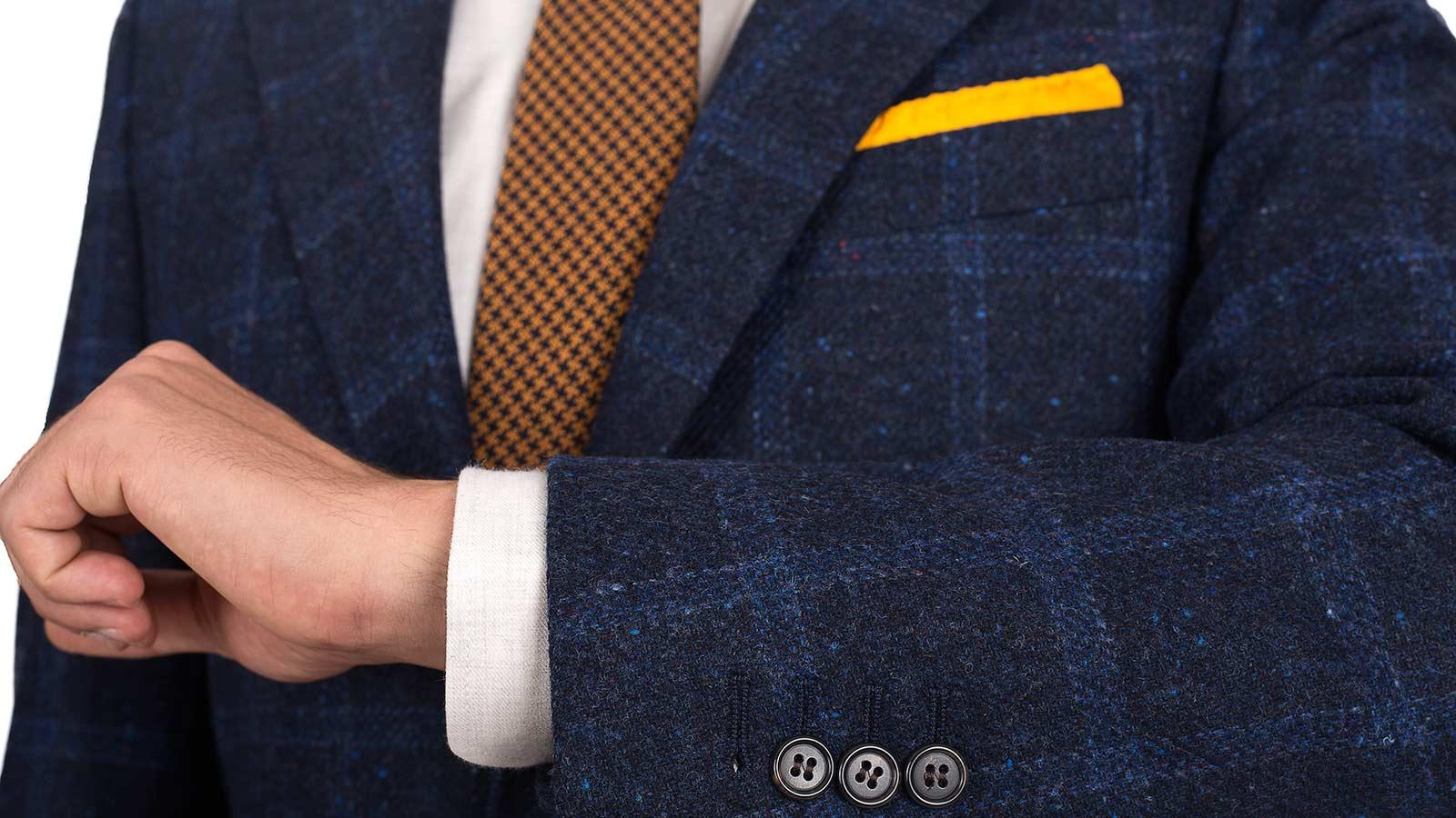 Blue Check Blue Shetland Tweed Blazer - slider image 1