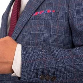 Blue Plaid Wool & Cashmere Blazer - thumbnail image 1