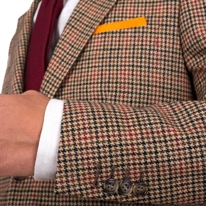 Light Brown Check Wool & Cashmere Blazer - thumbnail image 1
