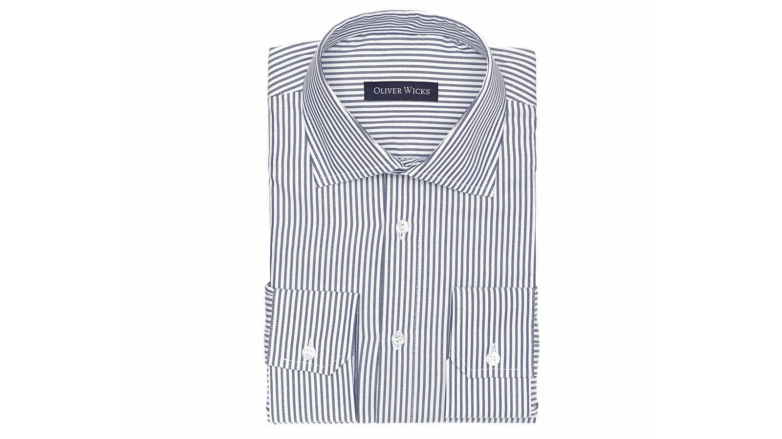 Blue Oxford Stripe Cotton Shirt - slider image