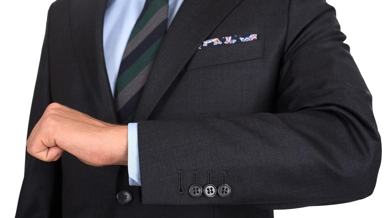 Charcoal Natural Stretch Wool Suit - slider image 1