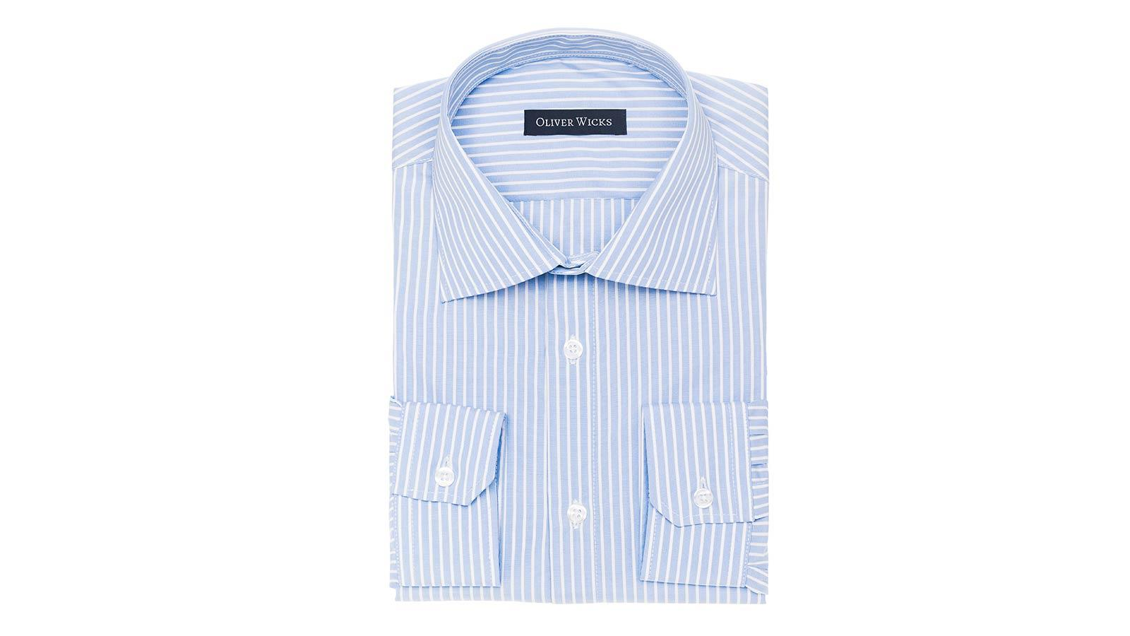 White Striped Blue Cotton Shirt - slider image