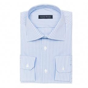 White Striped Blue Two-Ply Cotton Shirt - thumbnail image 1