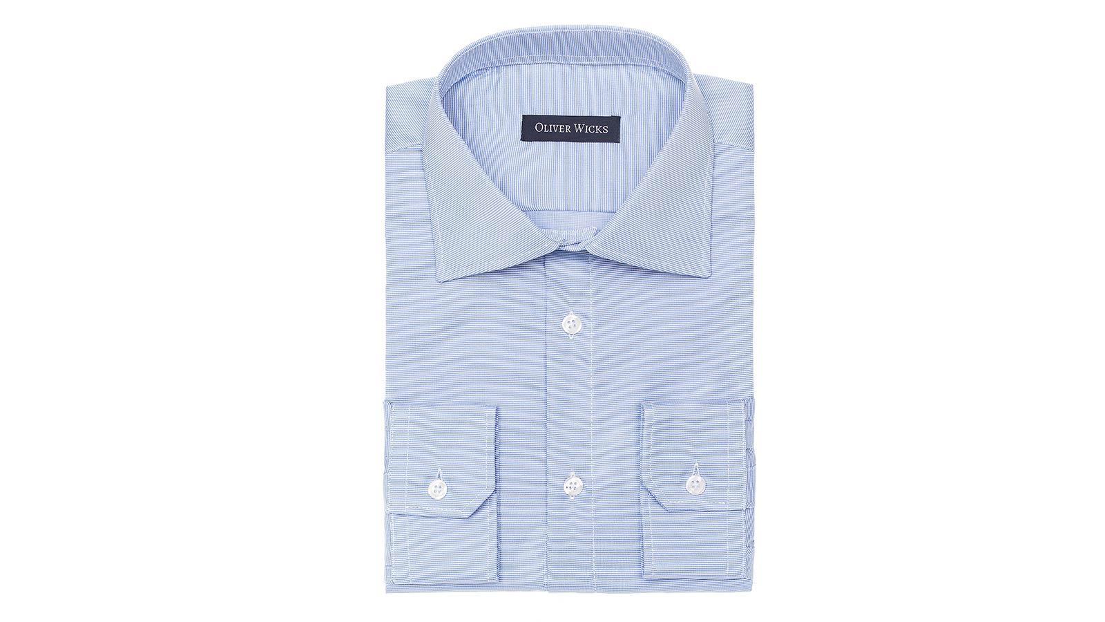 Light Blue Two-Ply Cotton Dobby Shirt - slider image