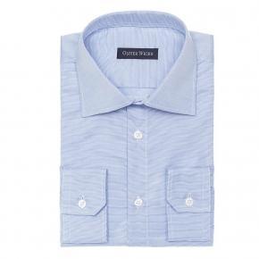 Light Blue Two-Ply Cotton Dobby Shirt - thumbnail image 1
