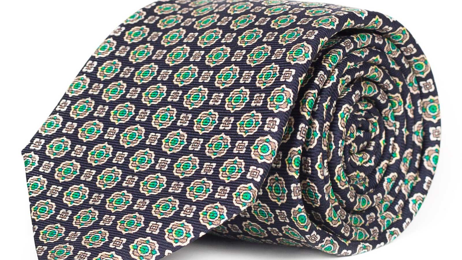 Navy & Green 28 Momme Silk Tie - slider image