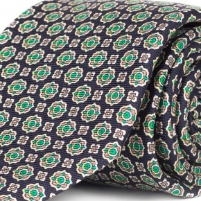 Navy & Green 28 Momme Silk Tie - thumbnail image 1