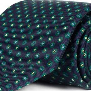 Navy Floral 28 Momme Silk Tie - thumbnail image 1