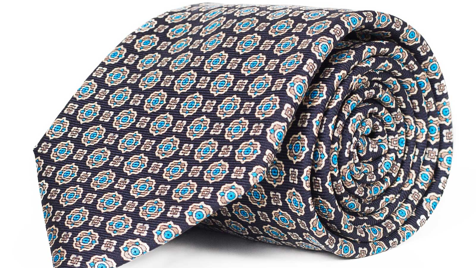 Navy & Blue 28 Momme Silk Tie - slider image
