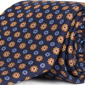 Blue & Gold Floral 28 Momme Silk Tie - thumbnail image 1