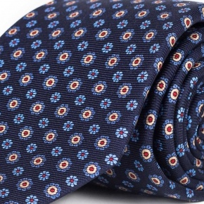 Blue & Blue Floral 28 Momme Silk Tie  - thumbnail image 1