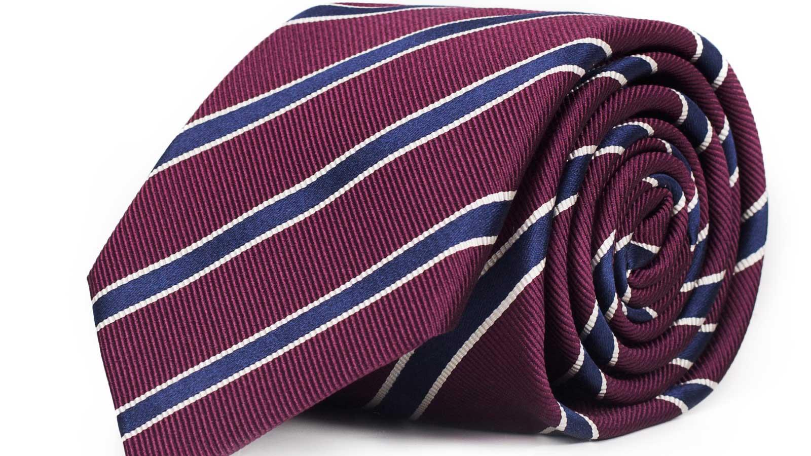 Blue Striped Burgundy Mogador Silk Tie - slider image