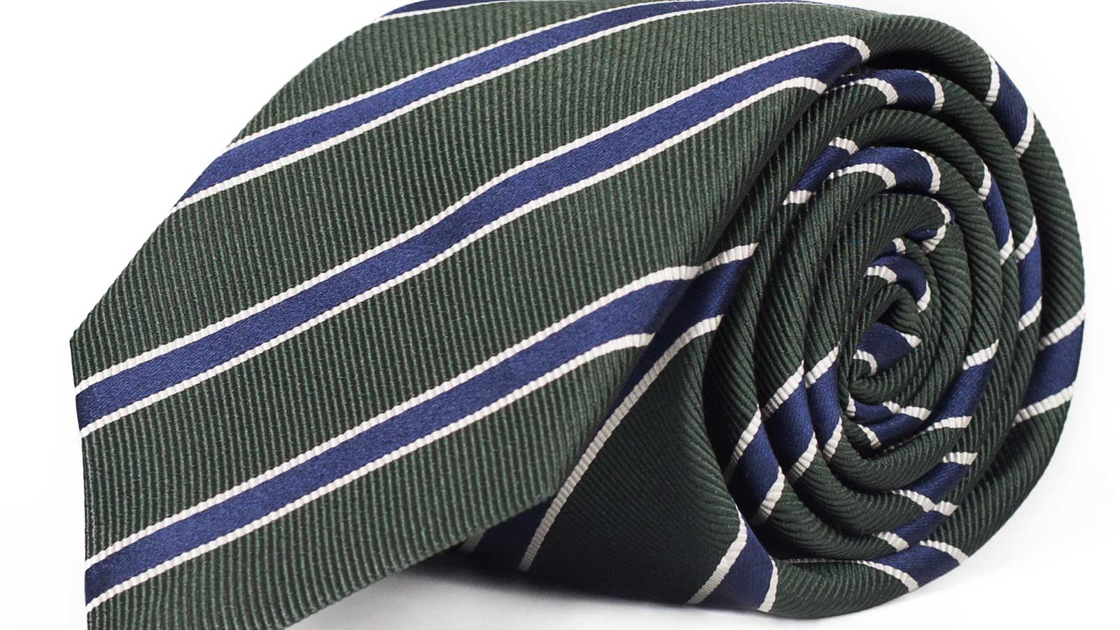 Blue Striped Green Mogador Silk Tie - slider image