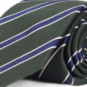 Blue Striped Green Mogador Silk Tie - thumbnail image 1