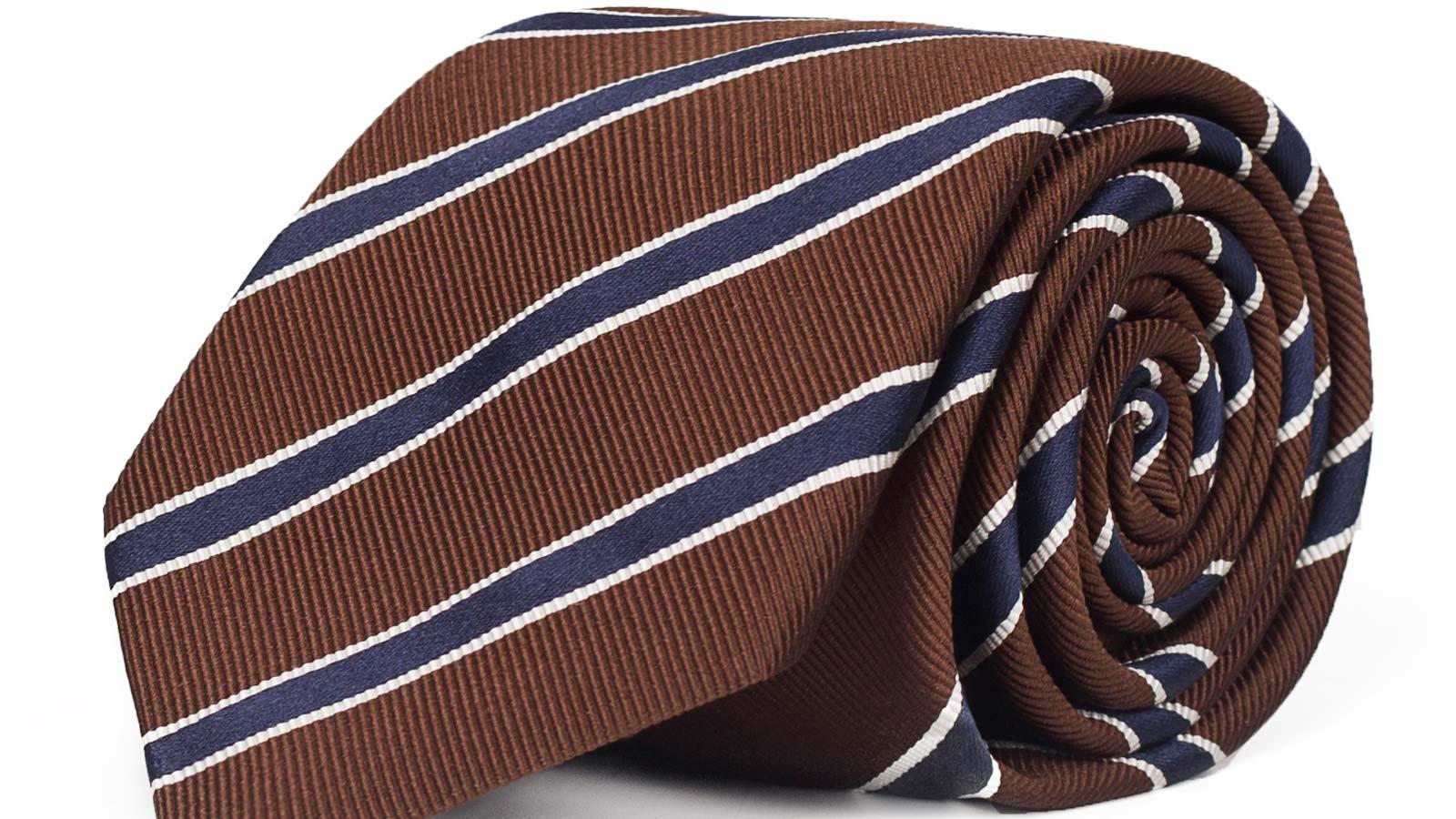 Blue Striped Brown Mogador Silk Tie - slider image