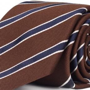 Blue Striped Brown Mogador Silk Tie - thumbnail image 1