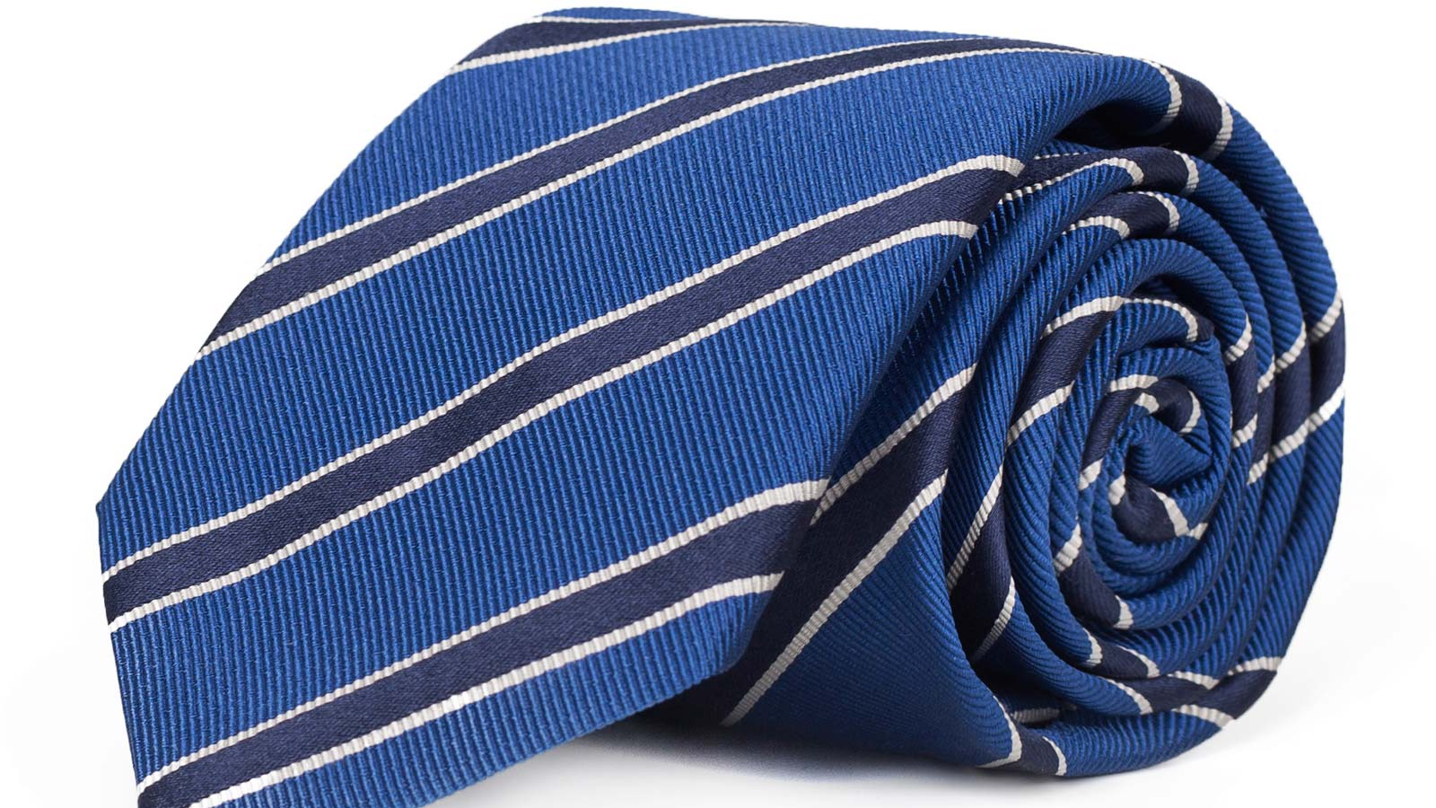 Navy Striped Blue Mogador Silk Tie - slider image